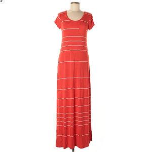 Old Navy coral orange maxi dress white stripe S